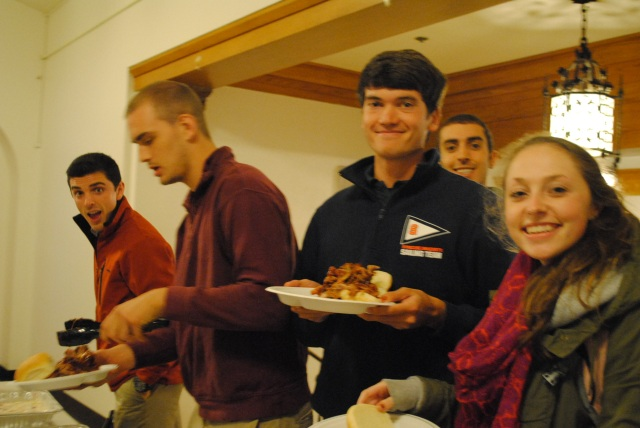 Students line up at the buffet before the speaker starts. This year the event was catered by a local favorite, Dinosaur BBQ.