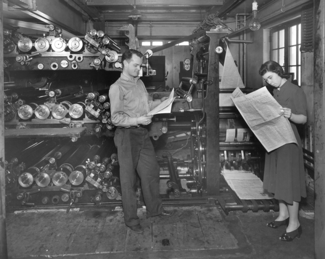 Dr. Ivana Tossit (right) in the student run paper mill at the School of Forestry